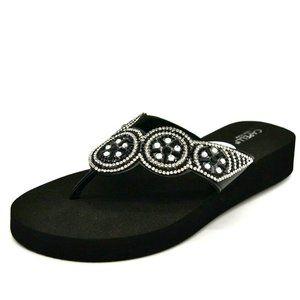 Capelli Womans Boho Thong Wedge Flip Flops NEW